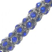 Blue rhinestone gun metal plated reticulated chain